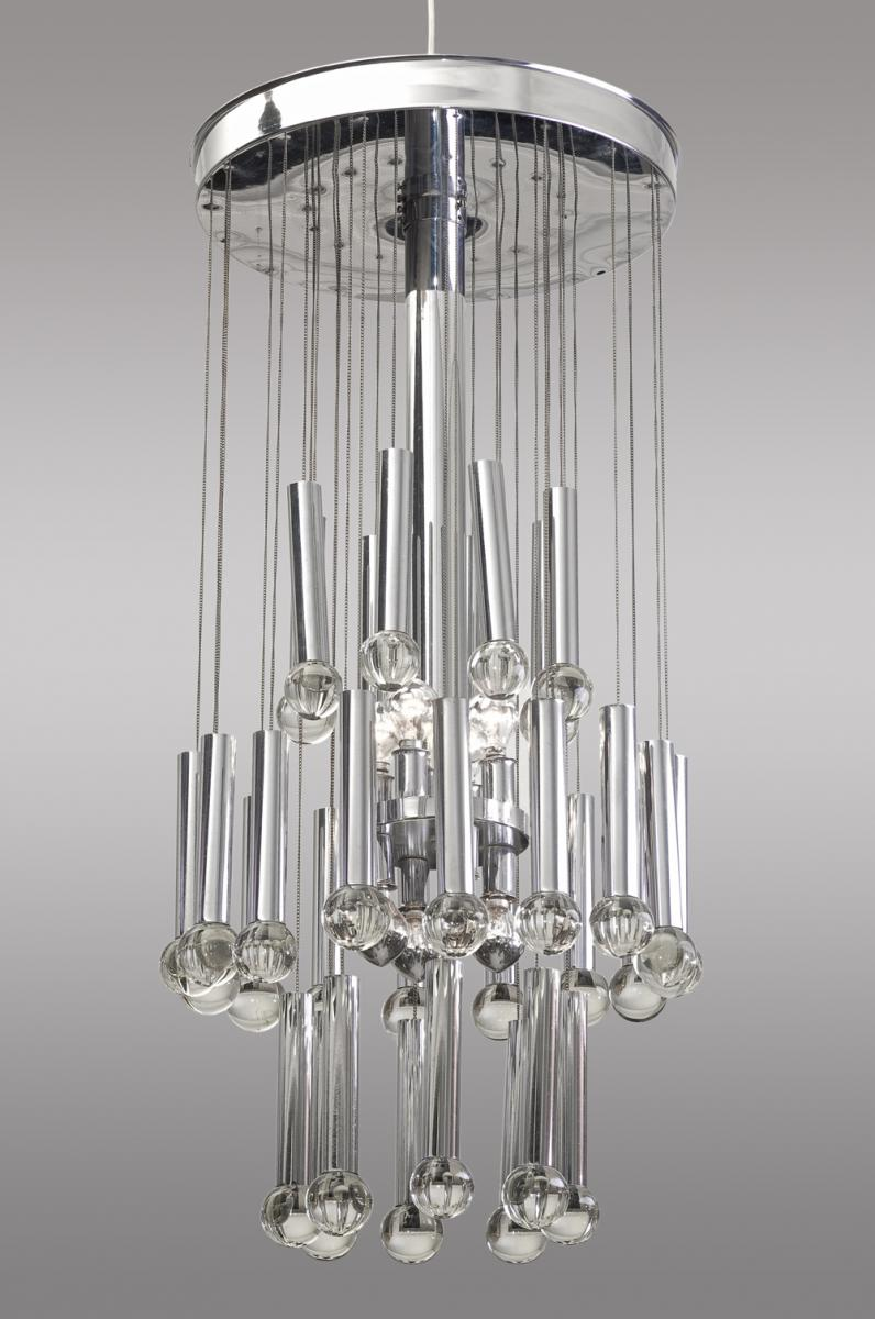 Ceiling Lamp In Glass And Chromed Metal. Around 1960