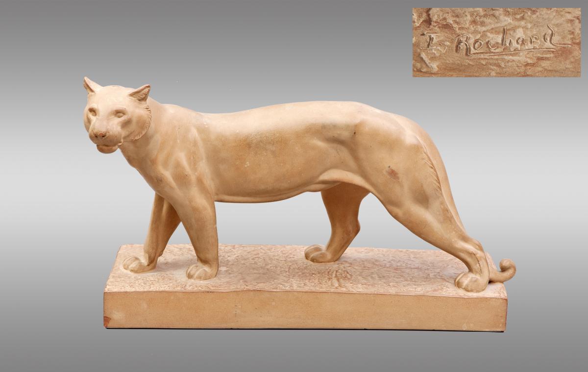 Panthere en terre cuite par Irenee Rochard. Vers 1900.