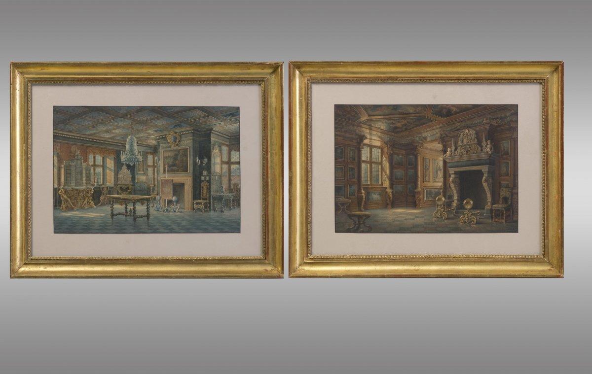 """Paire de aquarelles """"Interieurs du Palais de Rosenburg"""" a Copenhague. Signeés par Carl Neumann (1833-1891)"""