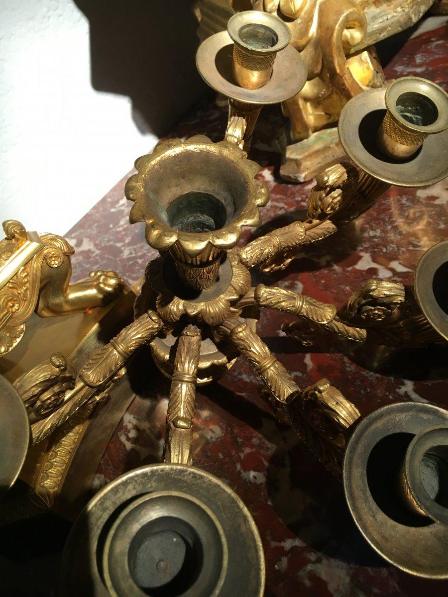 Paire de grands Candelabres en bronce doré de Epoque Empire a six lumieres. France-photo-1