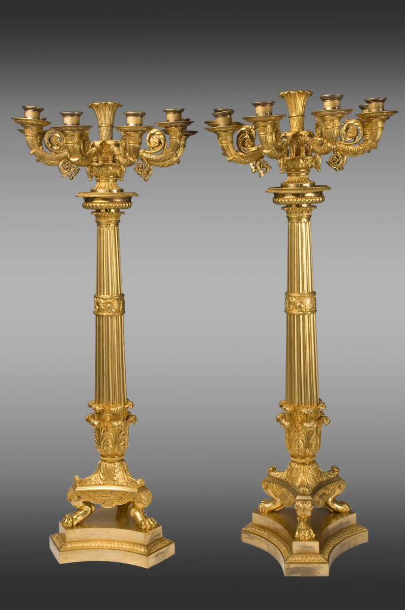 Paire de grands Candelabres en bronce doré de Epoque Empire a six lumieres. France