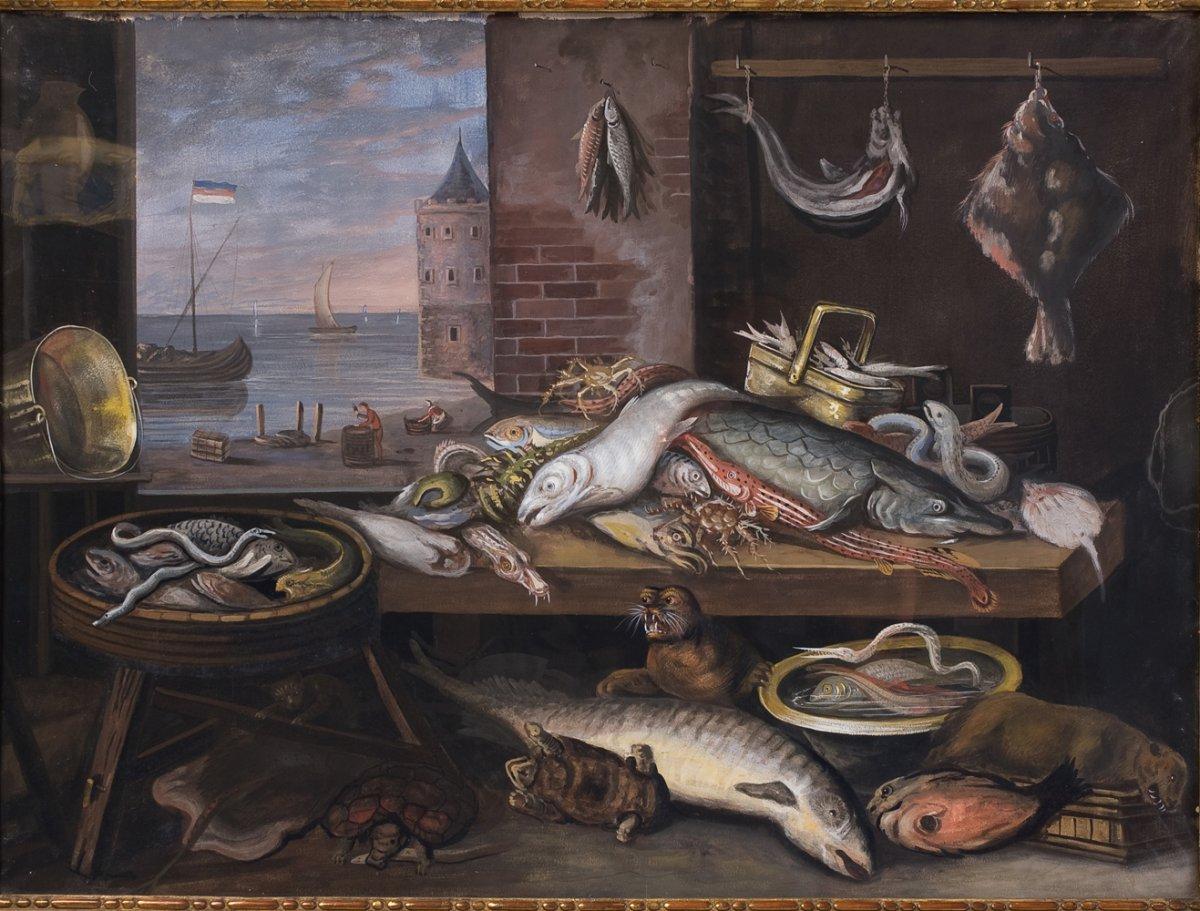 Paire de Gouaches, Natures Mortes  école Hollandaise. Fin dixhuitiéme siècle. -photo-1