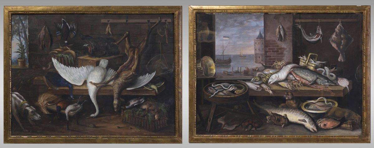 Pair Of Gouaches, Still Life Dutch School. Late Eighteenth Century.