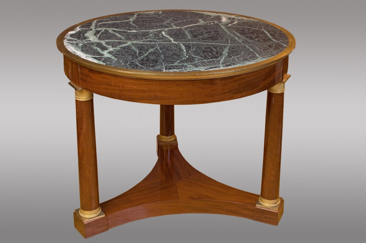 Table De Milieu De Epoque Empire  En Acajou Avec Lingotiere En Bronze  Et Marbre Vert