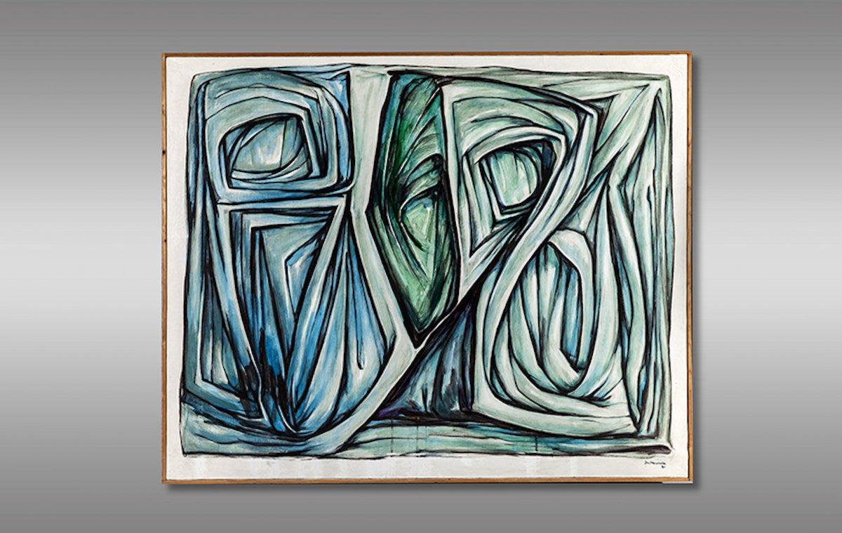 """R. L. Santamaria peintre et sculpteur. Oeuvre  intitulé """"Epousailles"""" Signé et daté 1991."""