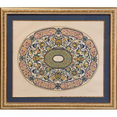 Ltographie avec motifs d'ornements perses.