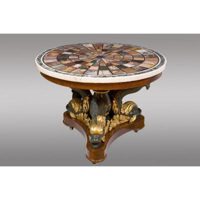 Magnifique Table Milieu. Signé En 1827 Par l'Atelier Romain Fratelli Blasi
