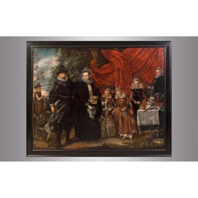 Portrait de une famille noblee. Vers 1600. Ecole Holandaise.
