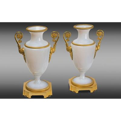French white Opaline Vases, with gilt bronze mounts. Charles X Period