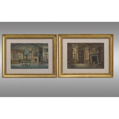 Carl Neumann (1833-1891) Deux aquarelles  qui representent des interieurs du Palais  de Rosenborg à Copenhague . Dixneuviéme Siècle.
