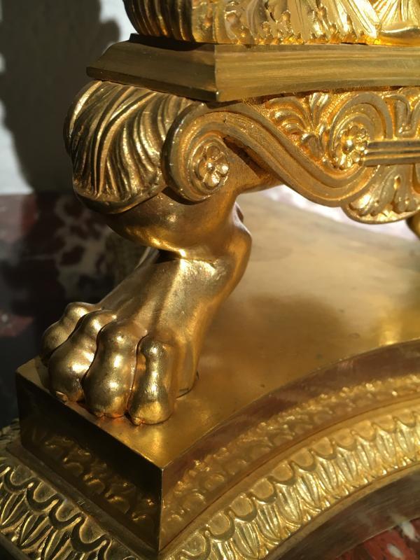 Paire de grands Candelabres en bronce doré de Epoque Empire a six lumieres. France-photo-3
