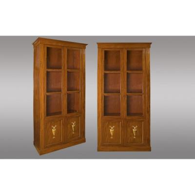 Pair Of Libraries In Mahogany And Gilded Bronzes. France. Directoire Period. Around 1800