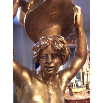 Une paire de sculptures Venitiennes en bois doré