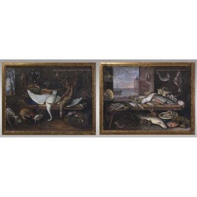 Paire de Gouaches, Natures Mortes  école Hollandaise. Fin dixhuitiéme siècle.