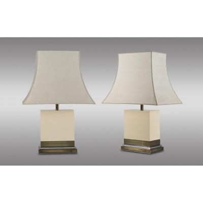 Pair Of Lacquered Wood And Metal Table Lamps By Jean Claude Mahey 1970