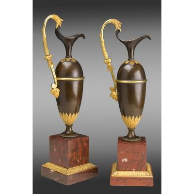 Pair Of Aiguiéres In Patinated And Gilded Bronze, Model By André Ravrio