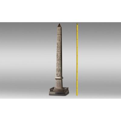 Large Obelisk In Patinated Bronze And Black Marble From The Grand Tour Period.