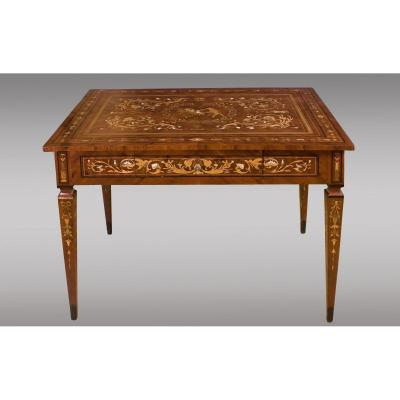Middle Table Inlaid With Different Woods, Bones And Mother-of-pearl Maggiolini Type