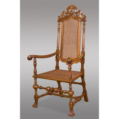 Armchair In Walnut And Wicker In Perfect Condition, Restored. Castile Spain Eighteenth Century.