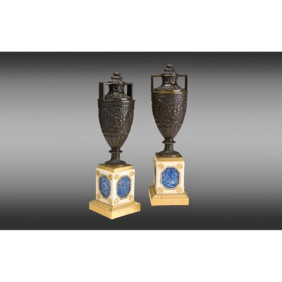 Patinated Bronze Urns Mounted On White Marble, Lapis Lazuli And Gilded Bronze Bases