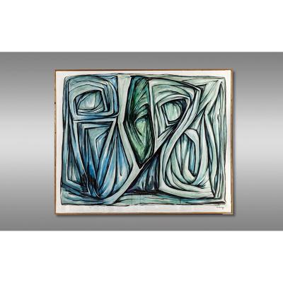 """Rl Santamaria Painter And Sculptor. Work Entitled """"epousailles"""" Signed And Dated 1991."""