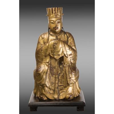 Figure Of Chinese Dignator In Golden And Painted Wood. Eighteenth Century