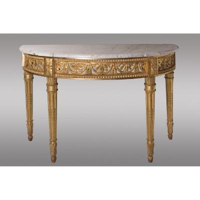 Half Moon Console In Golden Wood White Veined Marble Original. Louis XVI Period