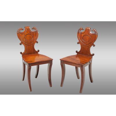 Pair Of English Hall Chairs In Mahogany. Around 1815