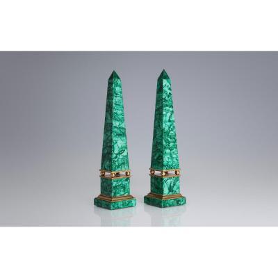 Obélisques Russes En Malachite  Et Bronze Doré