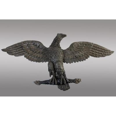 Large Eagle In Carved And Stuccoed Wood From The Beginning Of The 19th Century.