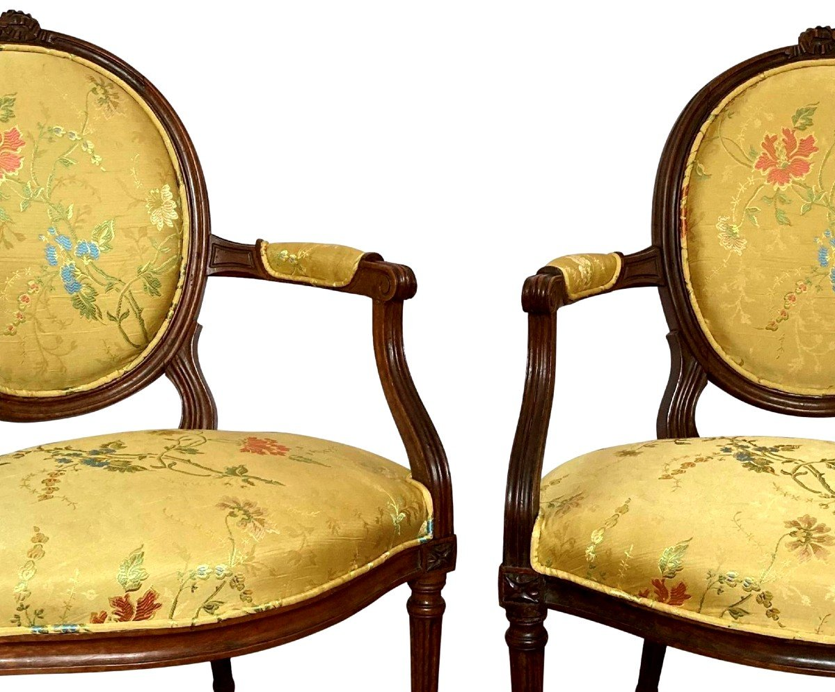 Paire De Fauteuils Epoque Louis XVI-photo-2