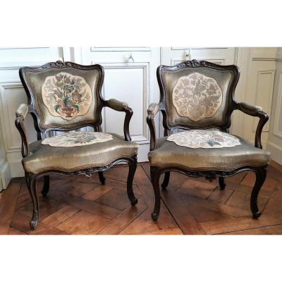 Pair Of Louis XV Period Cabriolet Armchairs 18th Century
