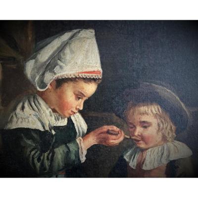 Imposing Painting After Emma Herland (1855-1947) Le Déjeuner Du Petit Potic