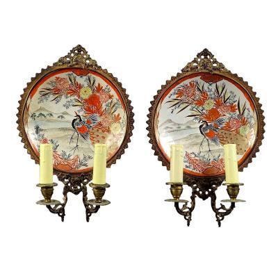 Paire d'Appliques En Porcelaine Du Japon Période Meiji