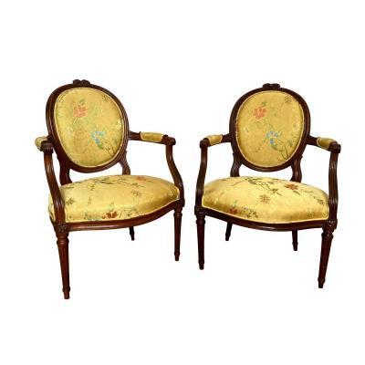 Paire De Fauteuils Louis XVI Du XVIIIe Siècle