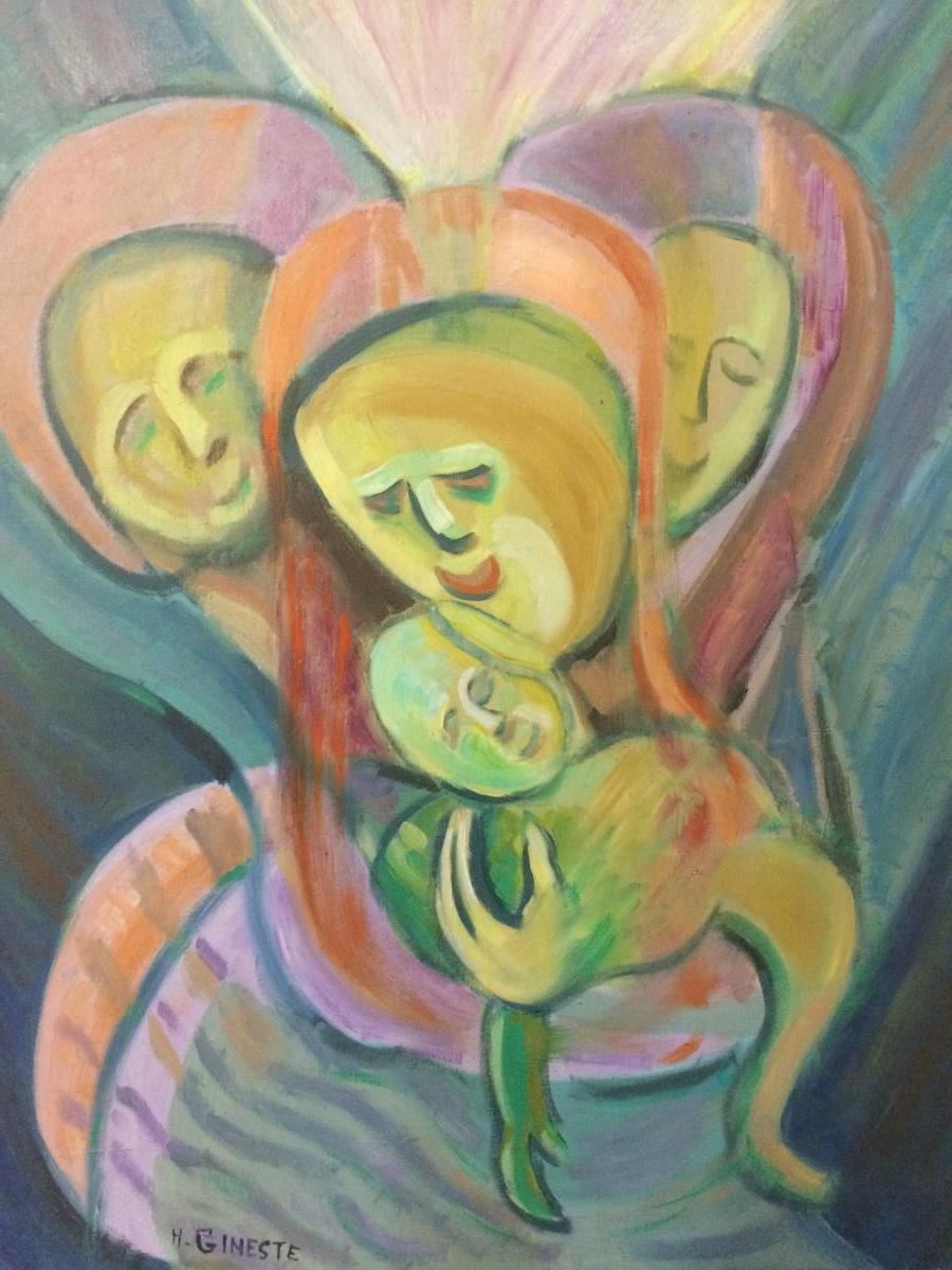 Henri Gineste «maternité «huile Sur Toile