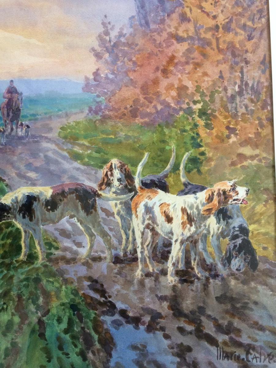 Marie Calvès «chiens De Chasse «,aquarelle