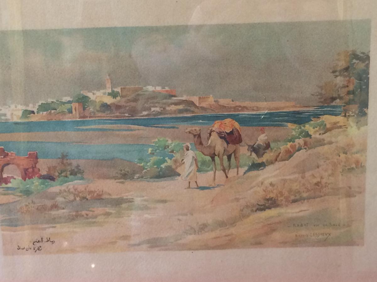 Lessieux: Estampe Orientaliste , Rabat Vue De Salé.