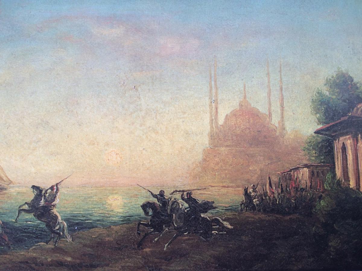 Sainte Sophie à Constantinople,turquie.peinture D'alfred Aug. Bachmann