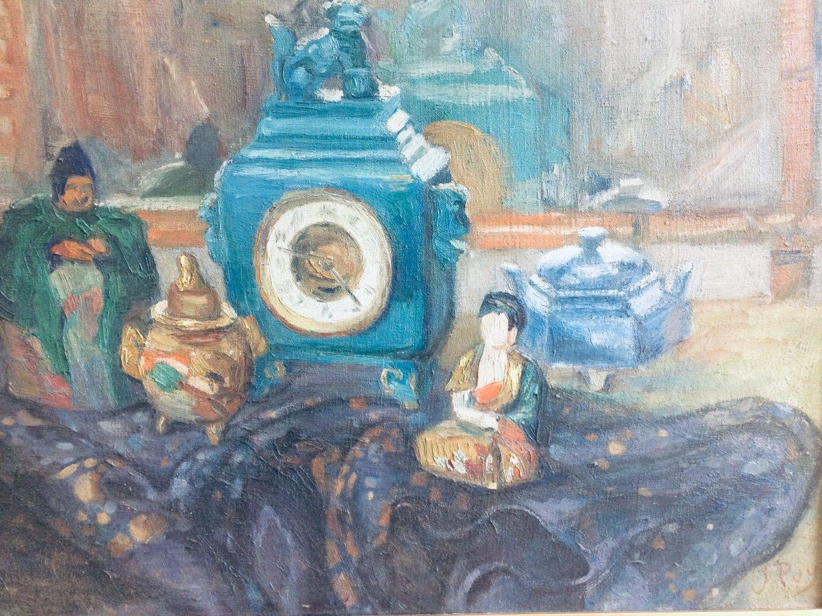 Jean Puy , Nature Morte à La Pendule,huile Sur Toile 55 X 65 Cm