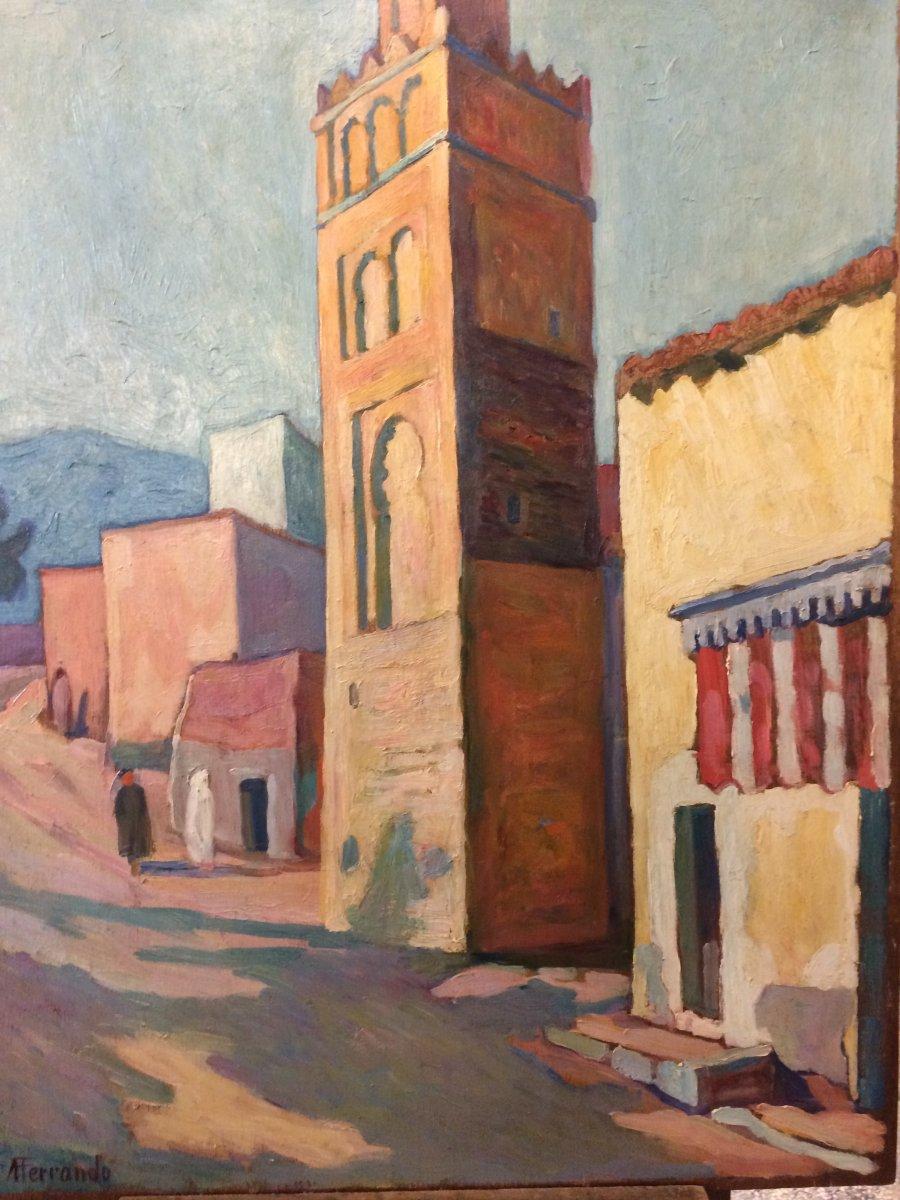 Augustin Ferrando. The Minaret. Orientalist Painting. North Africa