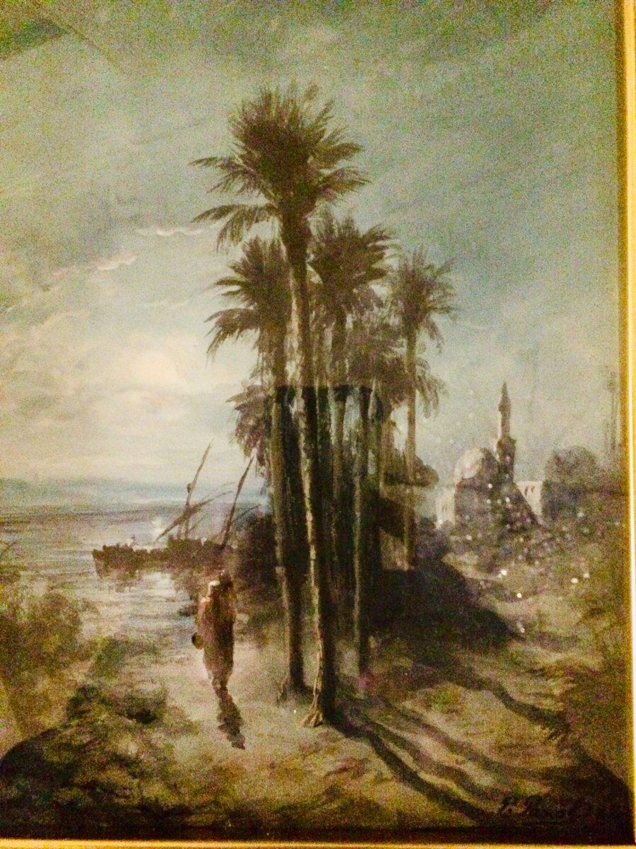 Paul Pascal.paysage Orientaliste à La Gouache, Représentant Une Mosquée Au Bord De L'eau