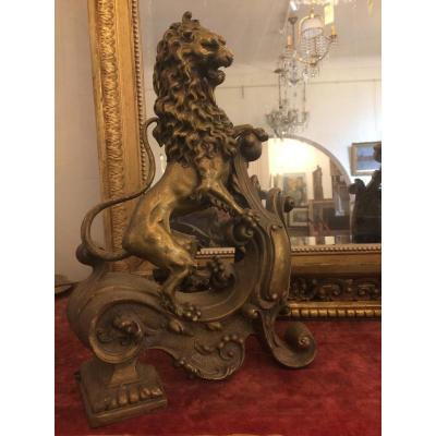 Pair Of Bronze Andirons Representative Lions