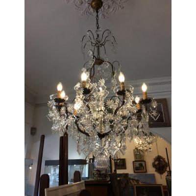 Grand Lustre Cristal à 9 Bras De Lumière
