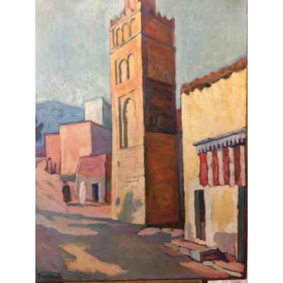 Augustin Ferrando. Le Minaret. Peinture Orientaliste. Afrique Du Nord