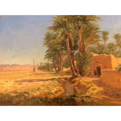 Antoine Gadan.afrique Du Nord.biskra,algérie.peinture Orientaliste 45 X 60