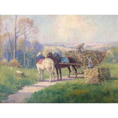 Henri Leriche. Tableau De Scène Champêtre