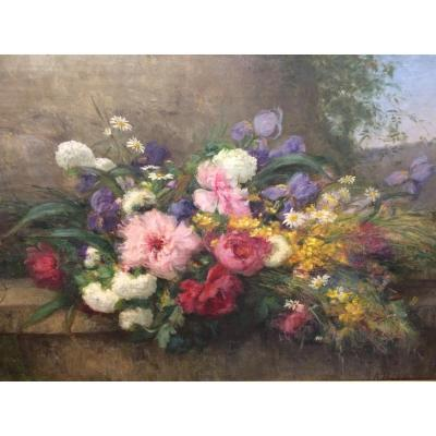 Spectacular Table Of Flowers, XIXth Century Era, Signed Baudry.