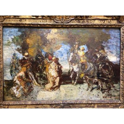 Adolphe Monticelli.Huile sur panneau.