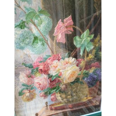 Watercolor Of Flowers Signed By Gabriel Perrin